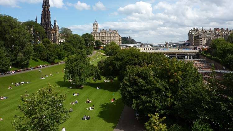 Princes Street Gardens in a sunny day